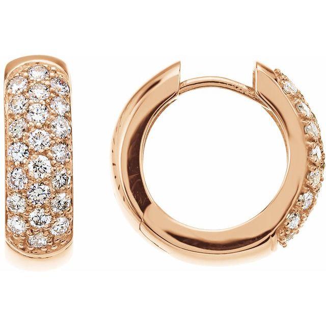 14K Rose 7/8 CTW Diamond Pavé Hoop Earrings