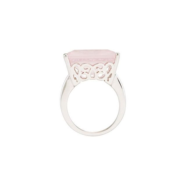 Rose Quartz Scroll Design Ring