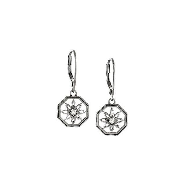 Sterling Silver .04 CTW Diamond Lever Back Earrings