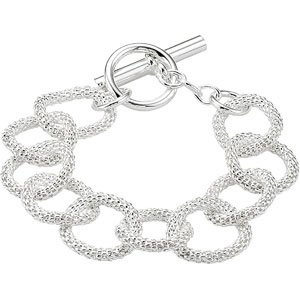 "Sterling Silver 21 mm Mesh Link Chain 8"" Bracelet"