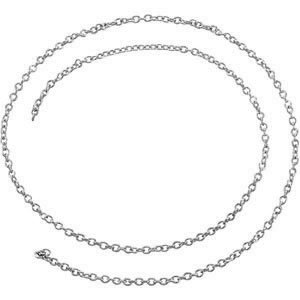 14K White 1.5 mm Solid Cable Chain by the Inch