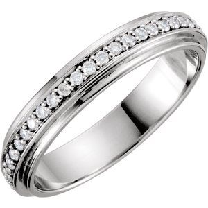 14K White Eternity 1/3 CTW Diamond Duo Band Size 7