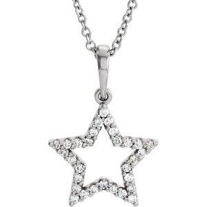 """14K White 1/8 CTW Diamond Petite Star 16"""" Necklace"""