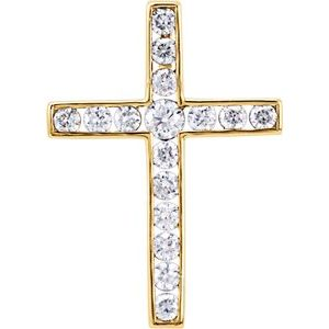 14K Yellow 1/3 CTW Diamond 20.4x14.9 mm Cross Pendant