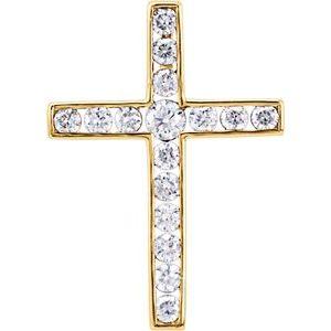 14K Yellow 1/3 CTW Diamond 20.4x14.9 mm Cross Pendant