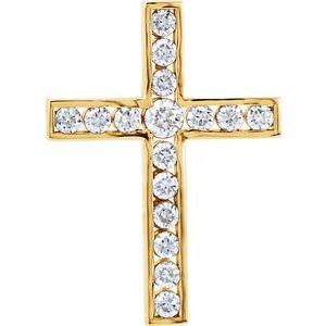 14K Yellow 3/4 CTW Diamond 26.1x18.9 mm Cross Pendant