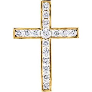 14K Yellow 1 CTW Diamond 29.2x21.2 mm Cross Pendant