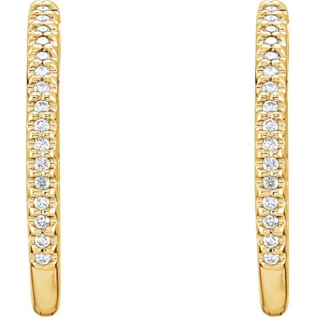 14K Yellow 27.8 mm 1 CTW Natural Diamond Inside-Outside Hoop Earrings