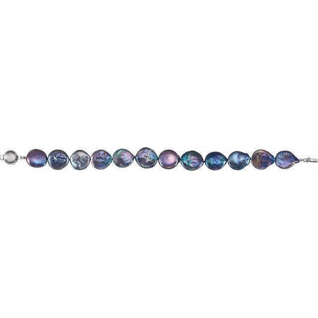 Sterling Silver 13-14 mm Black Freshwater Cultured Coin Pearl 7.75
