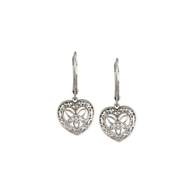 Sterling Silver .02 CTW Diamond Lever Back Earrings