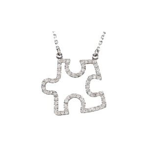 "14K White 1/4 CTW Diamond Puzzle Piece 16.25"" Necklace"