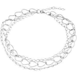 "Sterling Silver 3-Strand Link 16-18"" Necklace"