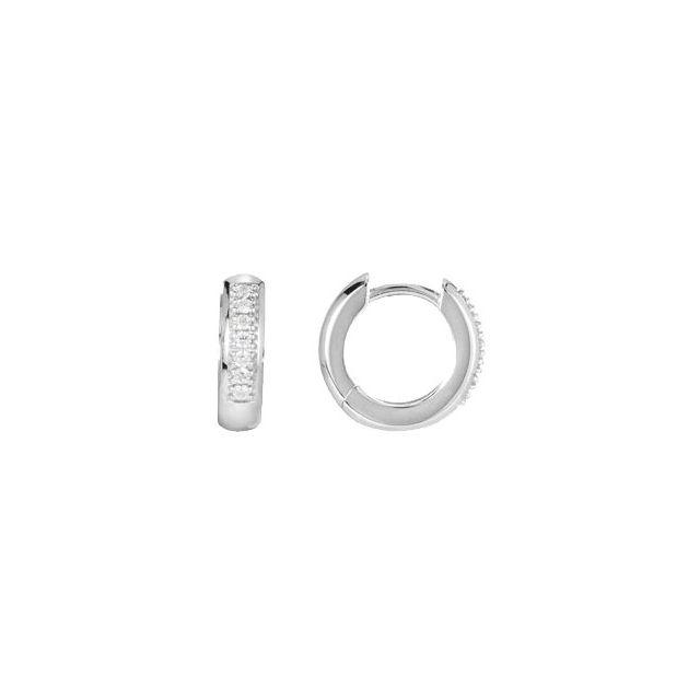 14K White 1/8 CTW Diamond 12.6 mm Huggie Earrings