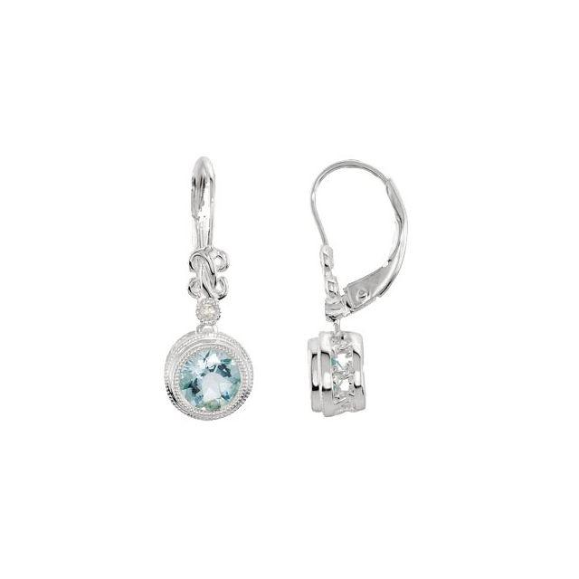 14K White Aquamarine & .02 CTW Diamond Earrings