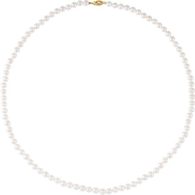 14K Yellow 6-6.5 mm Akoya Cultured Pearl 24