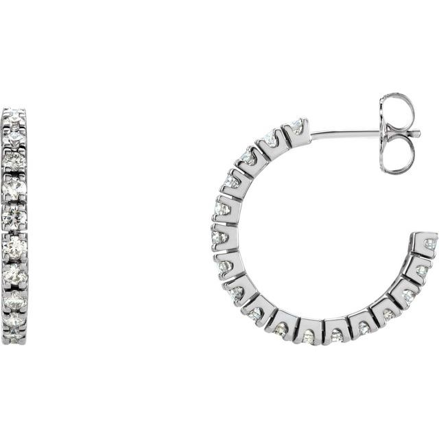 14K White 1 CTW Diamond 20.5 mm Hoop Earrings