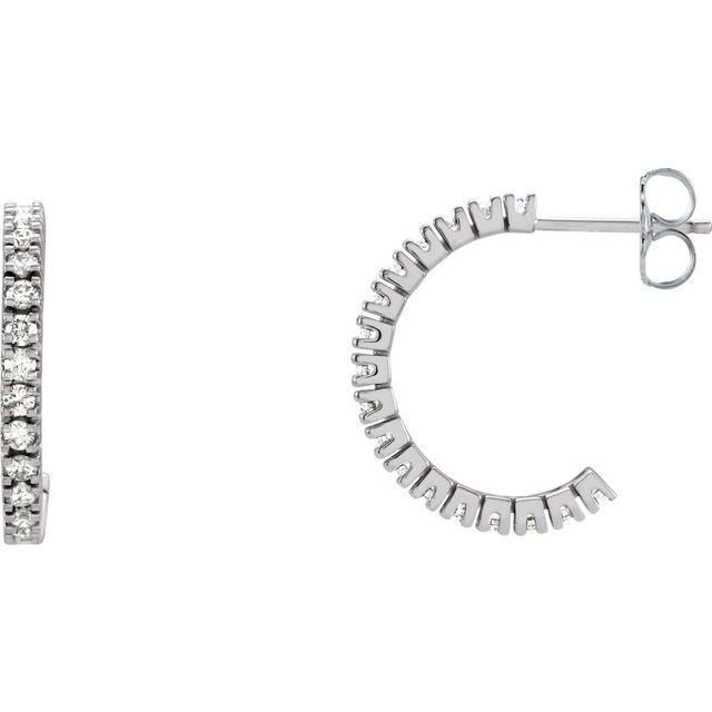 14K White 1/2 CTW Diamond 17.6 mm Hoop Earrings