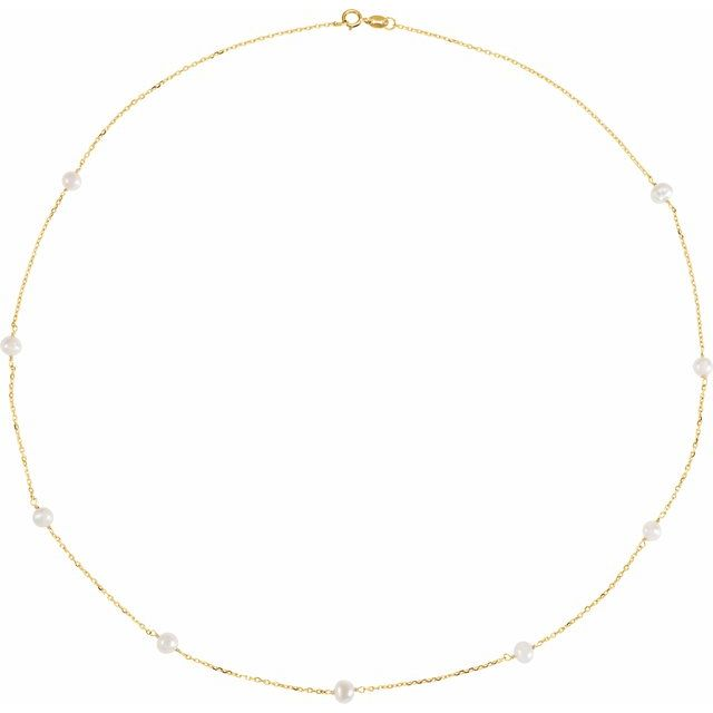 14K Yellow Freshwater Cultured Pearl Station 18