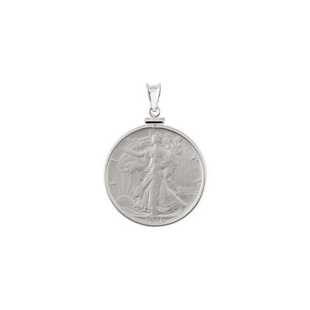 Sterling Silver Walking Liberty 1/2 Dollar Coin Pendant