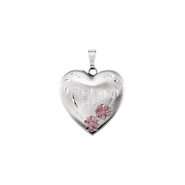 Sterling Silver 25.2x23.8 mm Mom Heart Locket with Enameled Flowers