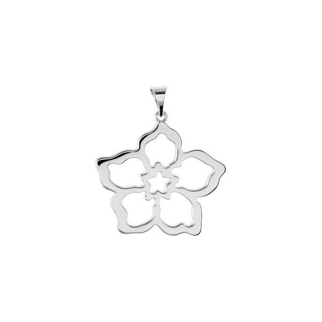 Sterling Silver 24.32x23.64 mm Forget Me Not Pendant