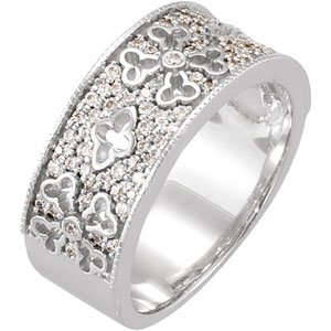 14K White 3/8 CTW Diamond Etruscan Anniversary Band