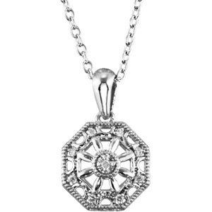 "Sterling Silver .04 CTW Diamond 18"" Necklace"