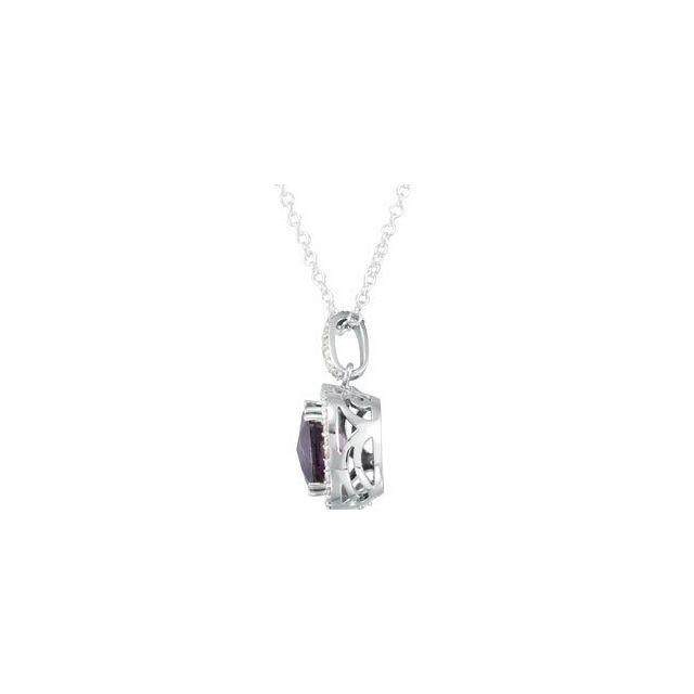 14K White Amethyst & 1/3 CTW Diamond 18