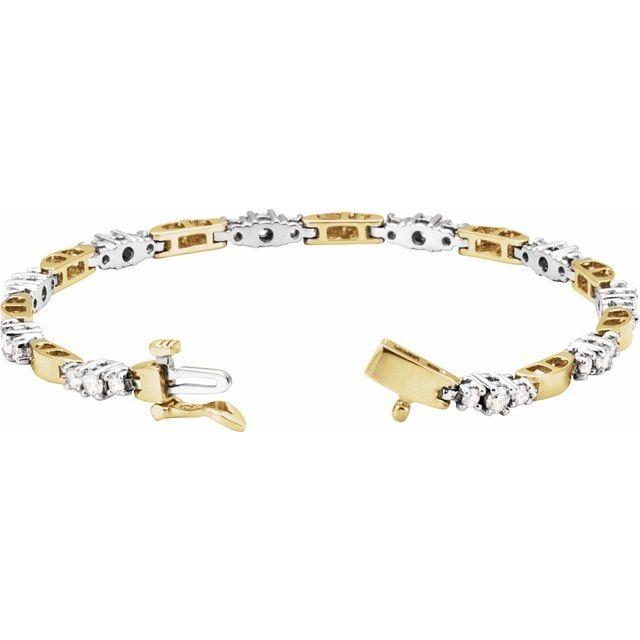 14K Yellow & White 1 3/4 CTW Diamond Line Bracelet