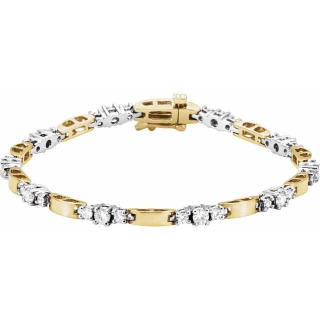 14K Yellow & White 1 3/4 CTW Diamond Line Bracelet