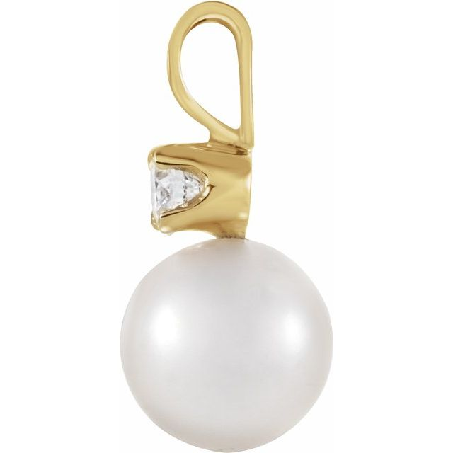 14K Yellow Akoya Cultured Pearl & .02 CTW Diamond Pendant