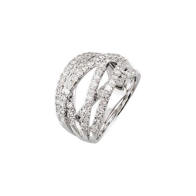 14K White 1 1/2 CTW Diamond Criss-Cross Ring Size 7