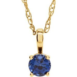 """14K Yellow 3 mm Round Lab-Grown Blue Sapphire Youth Birthstone 14"""" Necklace"""
