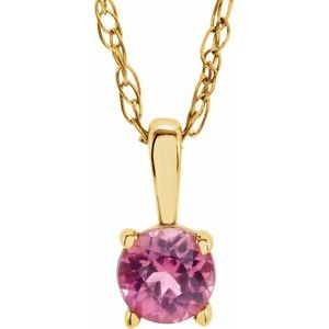 "14K Yellow 3 mm Round October Imitation Pink Tourmaline Youth Birthstone 14"" Necklace"