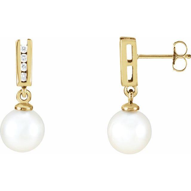 14K Yellow Akoya Cultured Pearl & 1/8 CTW Diamond Earrings