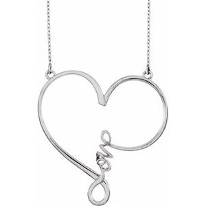 "14K White 34x33 mm Infinity-Inspired Love Heart 18"" Necklace"