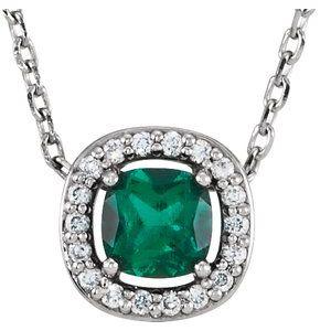 "14K White Chatham® Created Emerald & .04 CTW Diamond 16"" Necklace"