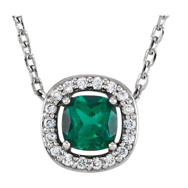 14K White Lab-Grown Emerald & .05 CTW Diamond 16