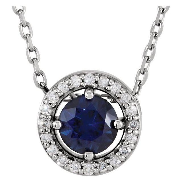 Sterling Silver Imitation Ruby & .05 CTW Diamond 16