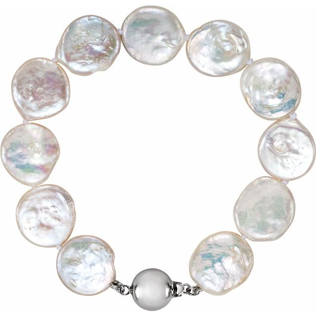 Sterling Silver White Freshwater Cultured Coin Pearl 7.75