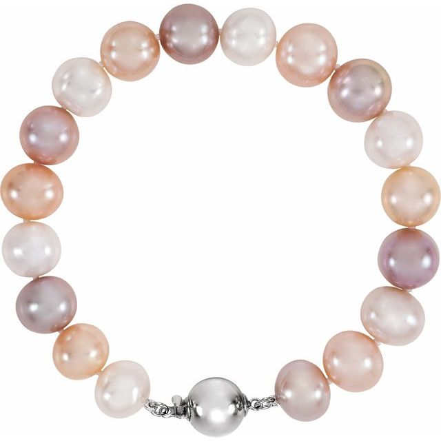 Sterling Silver Multi-Color Freshwater Cultured Pearl  7 3/4