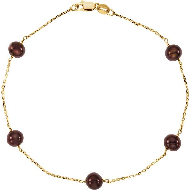 14K Yellow Freshwater Cultured Dyed Chocolate Pearl 7.5