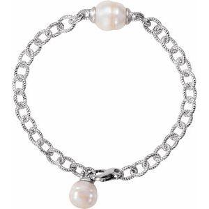 """Sterling Silver Pearl 7"""" Bracelet"""