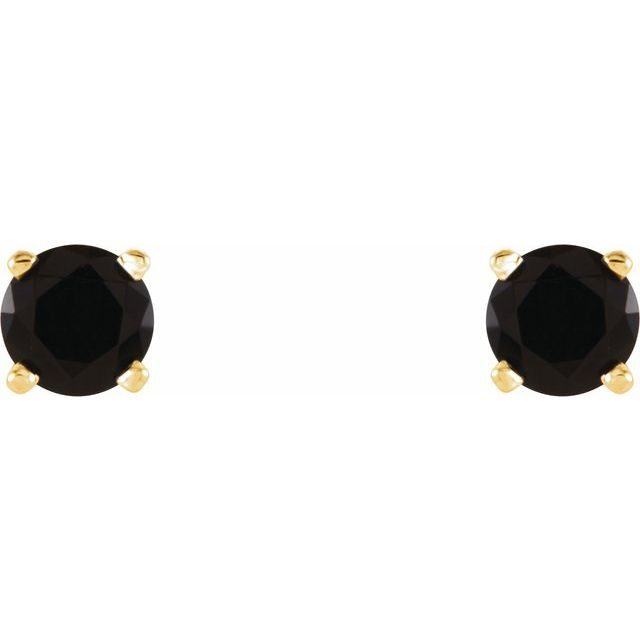 14K Yellow 4 mm Round Onyx Earrings
