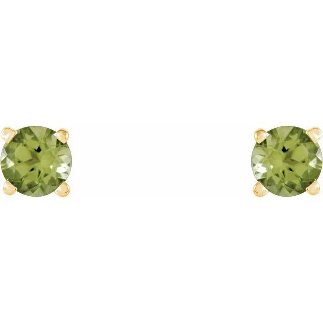14K Yellow 4 mm Natural Peridot Earrings