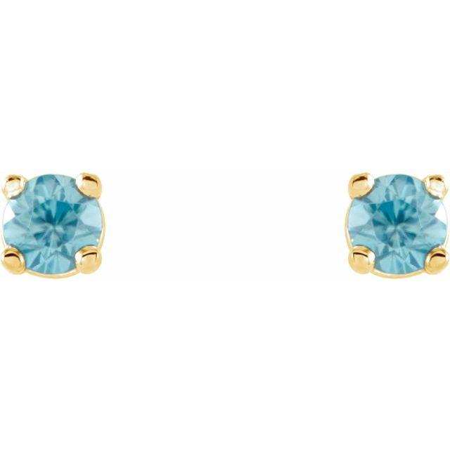14K Yellow 2.5 mm Round Blue Zircon Earrings