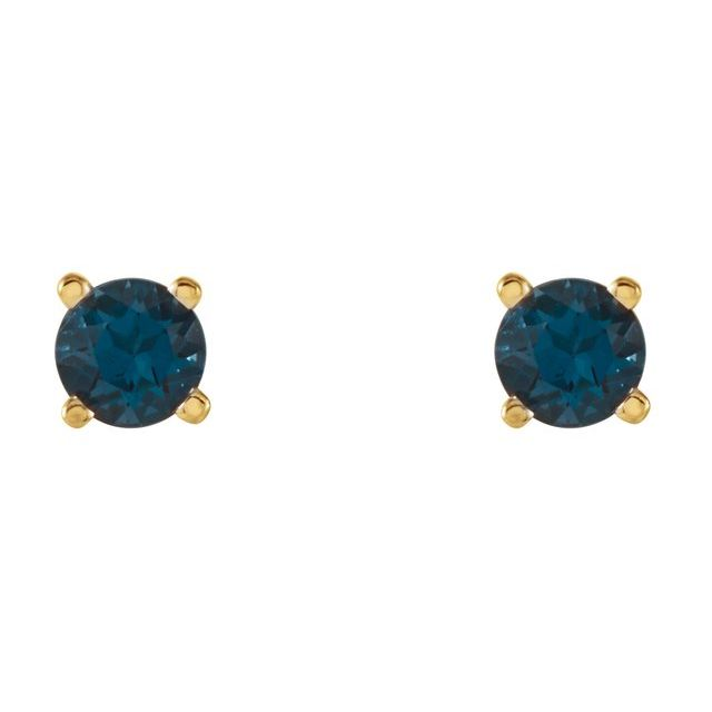 14K Yellow 4 mm Round London Blue Topaz Earrings