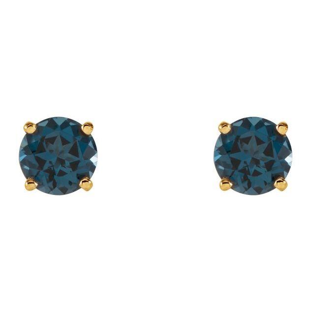 14K Yellow 5 mm Round London Blue Topaz Earrings