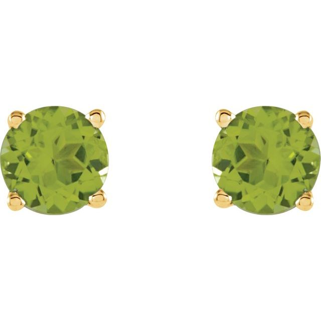 14K Yellow 5 mm Round Peridot Earrings