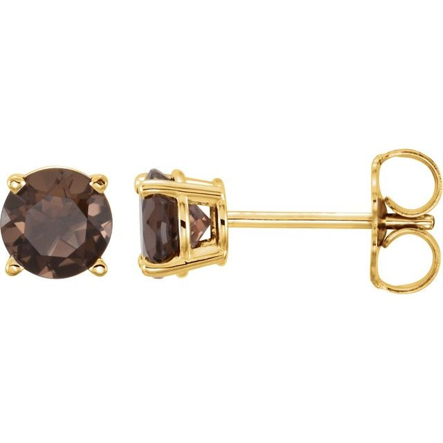 14K Yellow 5 mm Round Smoky Quartz Earrings
